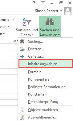 Excel Inhalte auswählen