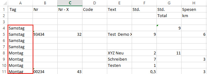 Excel Merged Cells Endergebnis