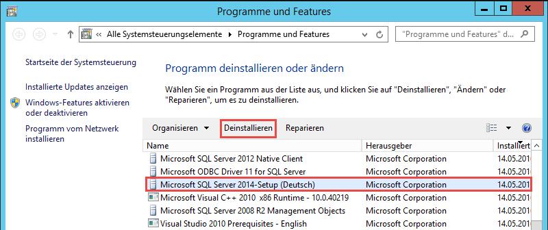 MS SQL Server deinstallieren