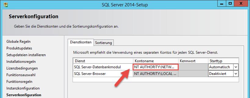 SQL Server Dienst anpassen