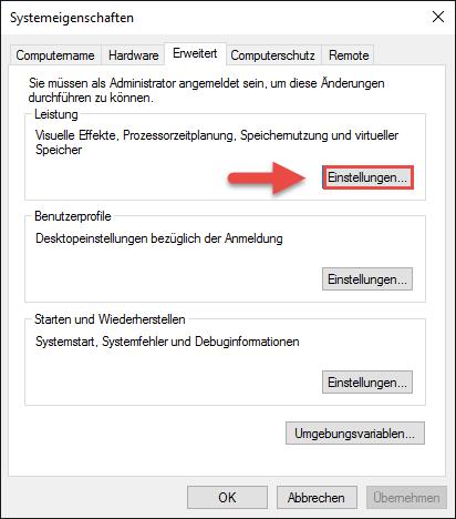 Systemeigenschaften SSD Windows