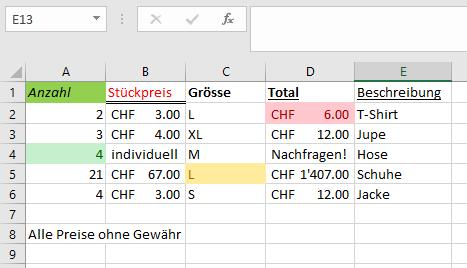 Beispiel Excel