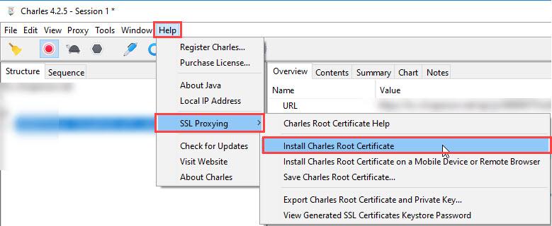 Charles Proxy SSL Cert